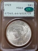 1923 Peace Dollar Pcgs Ms 64 Cac Approved