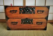 Antique Japanese Furniture Cabinet Clothes, Chest Of Drawers Isho Tansu L.33.5in