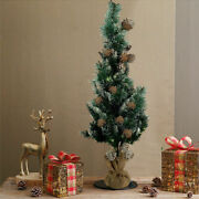 Christmas Tree Artificial Needles Base Stand Small Pre Lit Led Pine Cone 3ft