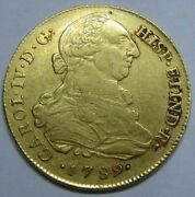 1789 Peru 8 Escudos Lima Charles Iv Spanish Gold Lima Coin Colonial