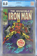🔥iron Man 1 May 1968 Marvel Cgc Grade 8.0 Ow-w Pages 🔥 Free Shipping Andpoundandpound