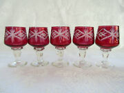 Set Of 5 Cranberry Stained Cut To Clear Blown Glass Vintage Cordial Glasses