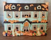 Transfar Intand039l Co 2 Sided Lighted Ceramic House Autumn And Winter Pre-owned