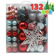 Joiedomi 132 Pcs Red Blue And Silver Christmas Assorted Ornaments With A Silv...