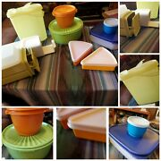 Vintage Tupperware Huge Lot 21× Peice Brick Cheese Container, Pitcher, Bowls Etc