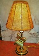 Vintage Brass Butterfly Desk Table Lamp Night Light Candle Bulb Beaded Shade 11