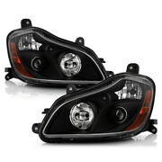 [pair Set]black Projector Headlights Lamps Assembly For 2013-2019 Kenworth T680