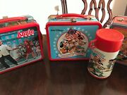 3 Vintage Metal Lunch Boxes Disney Annie Raggedy Ann With Thermos Never Used