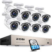 Zosi 8ch 1080p Poe Home Security Camera System Outdoor With 2tb Hard Drvieh.265