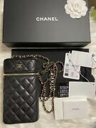 21p Black Caviar Quilted Phone Holder With Crossbody Bag