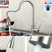 Kitchen Faucet Sink Pull Down Sprayer Swivel Spout Brushed Nickel Tap With Cover