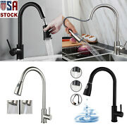 Kitchen Faucet Sink Pull Down Sprayer Swivel Spout Brushed Nickel Single Handle