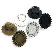 5pcs Glass Cabochons Brass Adjustable Ring Settings Blank Base Buttons Bezels