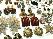 Big Earrings Lot Vintage To Modern Costume Jewelry 83 Pairs Clip-on Pierced Mix