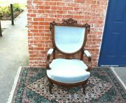 American Antique Eastlake Mahogany New Upholstered Arm Chair
