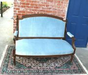 French Walnut Antique Louis Xvi Settee Loveseat Bench New Upholstery
