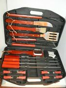 22 Pc Barbecue Set Tongs Spatula Grill Tools Steak Knives Fork Brush Skewers New