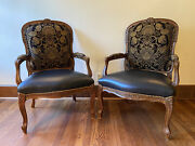 Century Furniture Pair Of Louis Xv Style Baroque Armchairs Black Leather Seats