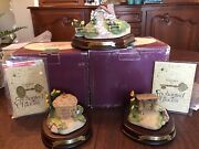 Wdcc Enchanted Places - Three Little Pigs Figurines And Houses W/ Coas