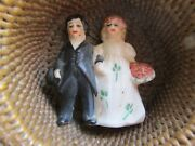 Antique Bisque German Hertwig And Co Bride And Groom 1.5 Wedding Cake Topper Figure