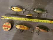 Lot Of 5. Vintage Wooden South Bend Oreno Fishing Lures. With Line Dress Tin.