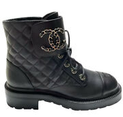 New Cc Combat Boots Black 39 Eur Size Leather Quilted Shoes Brooch Vv