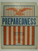 1916 Preparedness Patriotic March Song Jerome Don Connor Vintage Sheet Music M9