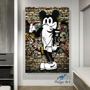 Mickey Mouse Painting Street Artist Graffiti Canvas Wall Decor Ready To Hang
