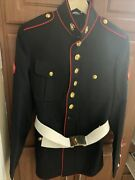Marine Corps E-3 Dress Blues Jacket-size 40r W/buttons And Parade Belt-used