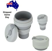 New Reusable Collapsible Travel Coffee Cup Mug With Lid - Bpa Free - Aus Stock