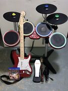 Ps4 Rock Band 4 W/ Pro Cymbals Expansion Kit Bundle Target Red Fender Complete