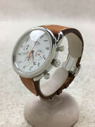 Hermes Arceau Chronograph Watch Automatic Ss White 43mm Authentic Overhauled