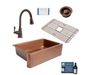 Sinkology All-in-one 33 Single Bowl Farmhouse Copper Sink With Pfister Faucet