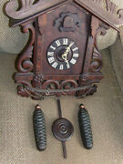 Antique Large Germany Cuckoo Clock Hand Carved And Assembled