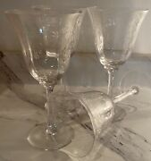 Lenox Crystal 'castle Garden' Wine Goblets Never Used Condition Lot Set Of 4