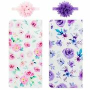 Newborn Baby Swaddle Blankets Headband Sets Including 2 Pack Of A Pink+purple