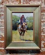 Nathan Solano -native American Indian Cavalry Scout On Horse-oil Painting