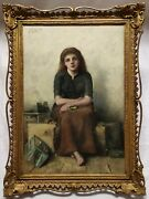 David Carr 19th Century Oil Painting On Canvas A Young Girl And Her Dead Canary.
