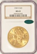 1900-s 20 Gold Liberty Double Eagle Coin Ngc Ms63 Cac Approved Pre-1933 Gold
