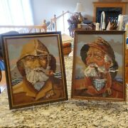 Vtg Framed Pictures W/glass Fisherman Needlepoint Canvas 12x15 Sea Captain Pipe