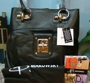 New B Makowsky Black Astor N/s Leather Tote Gold-tone And Silvertone Details Rare