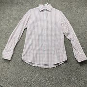 Mizzen+main Mens Button Up Shirt Small Trim Fit White Red Blue Check Long Sleeve