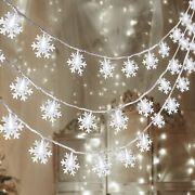 80 Led Christmas Snowflake String Lights Hanging Decorations Indoor Outdoor Home