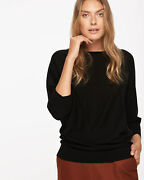 Jigsaw Bnwt Boat Neck Batwing Sweater Black Size M Uk 12 Repaired Rrp Andpound98