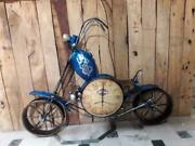 Large Iron Metal Wall Hanging Ball Bicycle Wall Clock For Home Decor Blue