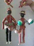 Pair Of Vintage American Puppets / Marionettes Playing Maracas - 1970's