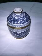 Xrare 1915-16 Chinese Blue White Tea Bowl Crackle Glaze Marked At Base Excellent