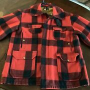 Woolrich 50andrsquos Vintage Xl Hunting Jacket Cruiser Red Black Plaid Size 46 Menand039s