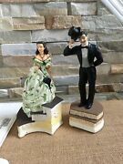 lot Of 2 Gone With The Wind Rhett And Scarlett Figurines On Stairs Music Boxes