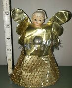 Vintage Porcelain Head Christmas Angel Tree Topper Cone Body Tinsel